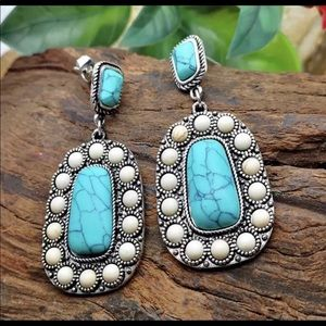 Earrings - Turquoise and White Stone - New